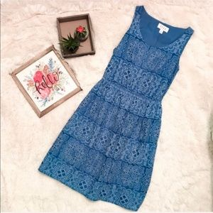 Elle Blue Eyelet Patterned Tank Dress Size XSmall